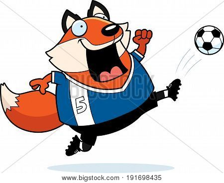 Cartoon Fox Soccer Kick