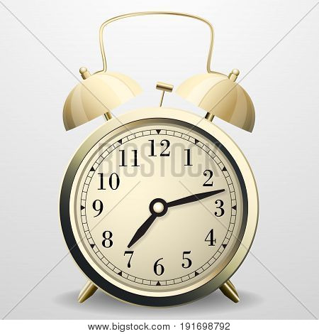 Alarm clock. Mechanical table clock with arrows dial and metal bell percussion Vector illustration.