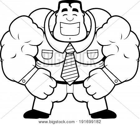 Cartoon Muscular Businessman