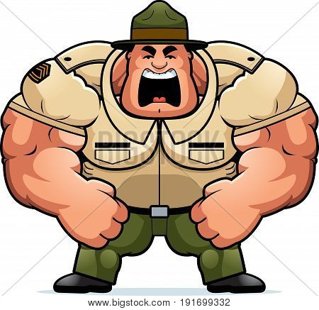 Cartoon Drill Sergeant Yelling