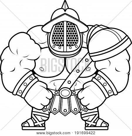 Cartoon Gladiator Flexing