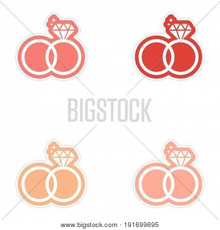 Set of paper stickers on white background wedding rings