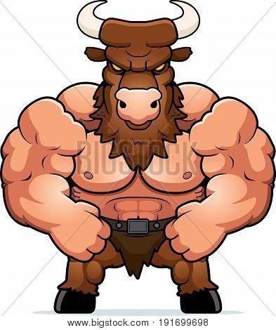 Cartoon Muscular Minotaur