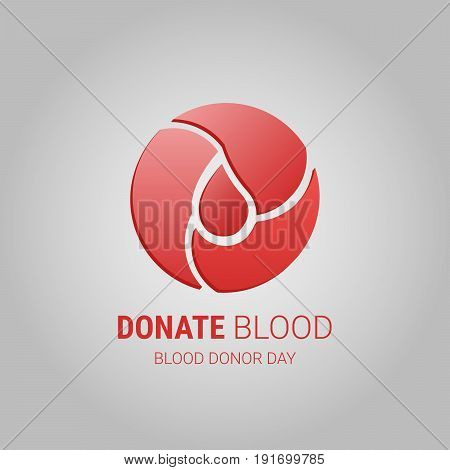 Donate blood vector logo. Blood donor day symbol. Blood drop in circle.
