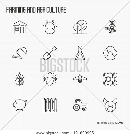 Agriculture icons with different animals, tools and symbols for eco products, farming flyers and banners. Thin line vector illustration.