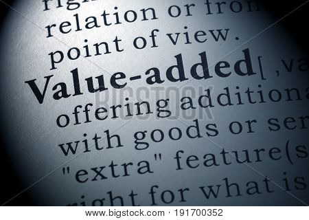 Fake Dictionary Dictionary definition of value added.