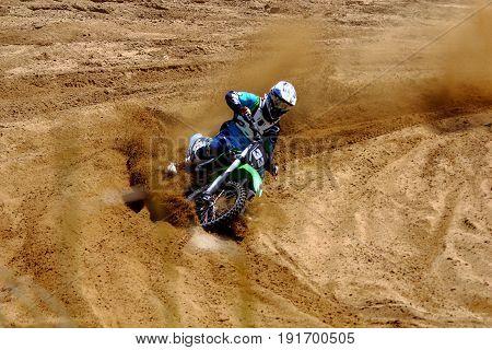 summer motocross races on the sandy track