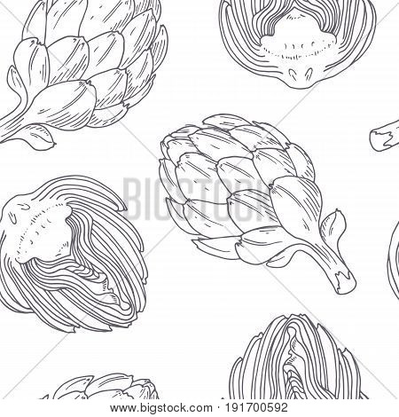 Hand drawn seamless pattern with artichoke. Monochrome background in sketch style. Vector illustration