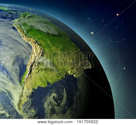 South America From Earths Orbit
