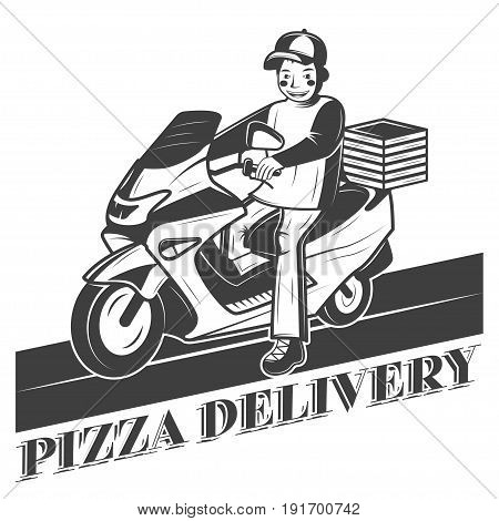 Boy on scooter, pizza delivery vector vintage label, badge, or emblem. monochrome style