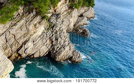 Beautiful castline view near Petrovac, Montenegro. Rocks and sea from hill
