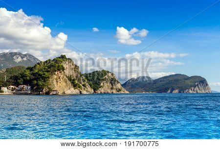 Panoramic landscape in Montenegro. Fantastic view of the Petrovac town bay. Balkans, Adriatic sea, Europe