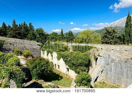 The ruins of the medieval fort. Fortress Shpanola, Herceg Novi, Montenegro, Balkan, Europe