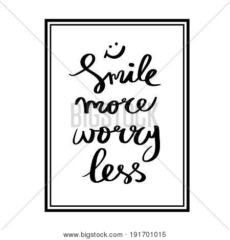 Calligraphy Smile more hand brush lettering inspirational poster