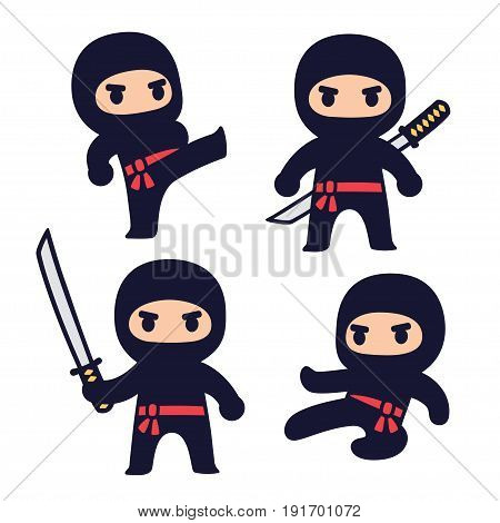 Cute cartoon ninja set with katana sword different fighting poses. Isolated vector clip art illustration.