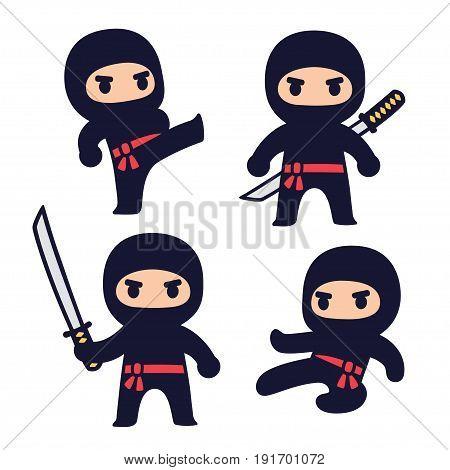 Cute cartoon ninja set with katana sword different fighting poses. Isolated vector clip art illustration.