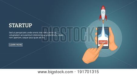 Startup launch fly banner horizaontal concept. Cartoon illustration of startup launch fly banner horizontal vector concept for web