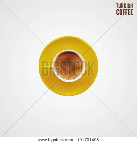 Cup of Sparkling Turkish Coffee EPS File Vector Illustration