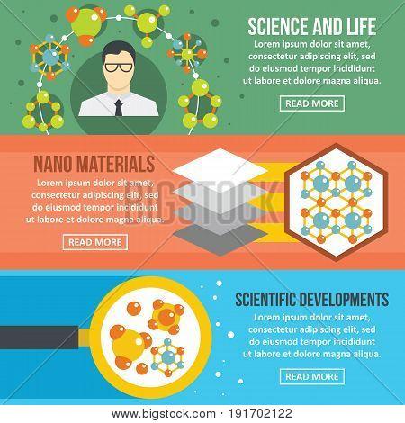 Molecule science banner horizontal concept set. Flat illustration of 3 molecule science vector banner horizontal concepts for web