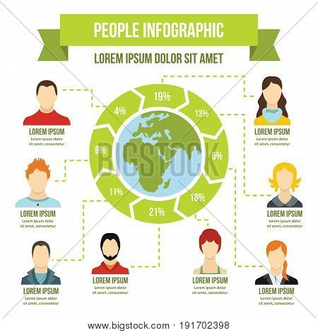 Peolple infographic banner concept. Flat illustration of people infographic vector poster concept for web