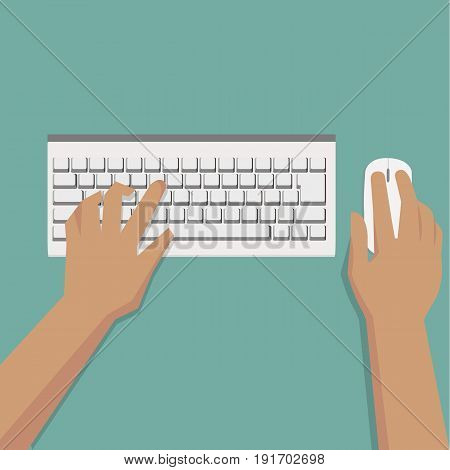 Flat Hands typing on white keyboard with mouse and pastel background vector