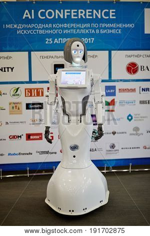 MOSCOW, RUSSIA - APR 25, 2017: Robot KIKI during AI Conference in Novotel Moscow City Hotel. Conference is devoted to introduction of artificial intelligence in business.