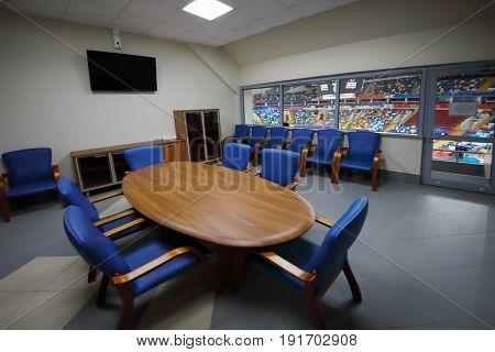MOSCOW - APR 7, 2017: Referee meeting room in Megasport stadium, construction of the stadium was completed in 2006, number of seats is 14 thousand