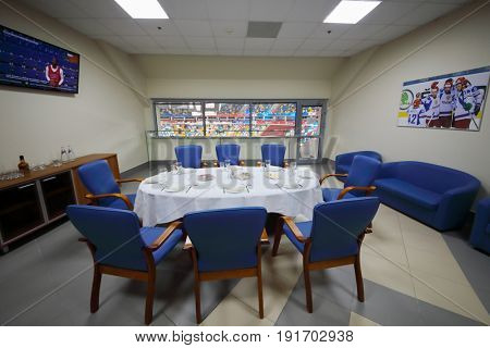 MOSCOW - APR 7, 2017: Empty referee meeting room with served table in Megasport stadium, construction of the stadium was completed in 2006, number of seats is 14 thousand