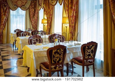 MOSCOW - APR 20, 2017: Restaurant in Congress-park Volynskoe, in separate buildings of congress Park Hotel there are 3 large halls for meeting and restaurant