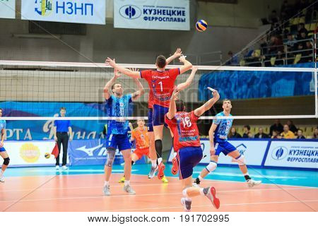 MOSCOW - APR 8, 2017: False first-rate attack at match of Russian Volleyball Championship Dynamo (Moscow) - Nova (Novokuibyshevsk) in Palace of Sports Dynamo