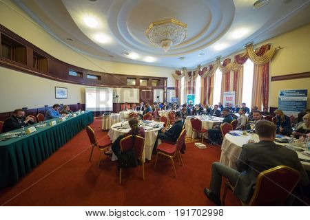 MOSCOW - APR 20, 2017: People at practical business conference Second breath of real estate market in Moscow business club in Congress-park Volynskoe