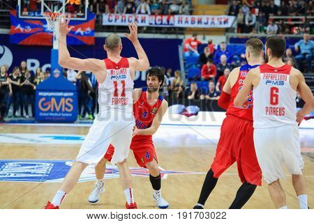 MOSCOW - APR 7, 2017: Block at basketball game Euroleague CSKA Moscow (Russia) - Olympiakos (Greece) in Megasport stadium