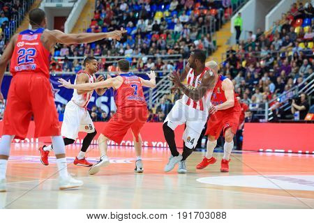 MOSCOW - APR 7, 2017: Running players at basketball game Euroleague CSKA Moscow (Russia) - Olympiakos (Greece) in Megasport stadium