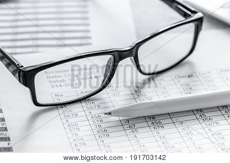 business taxes accounting in office work space on stone desk background top view