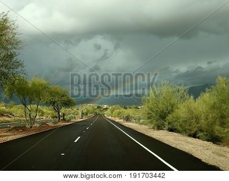 Sonoran Desert Rainbow on Boulevard in Scottsdale, Arizona