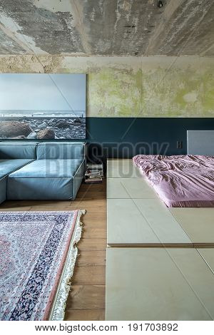 Loft style bedroom with shabby walls and a parquet with a carpet on the floor. There are sofas, large wooden bed with rose linens, big photo on the wall, piles of books and a speaker. Vertical.