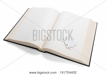 open book and puzzle concept of solution