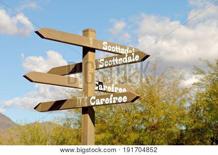 Directional Sign in Cave Creek, Arizona, USA