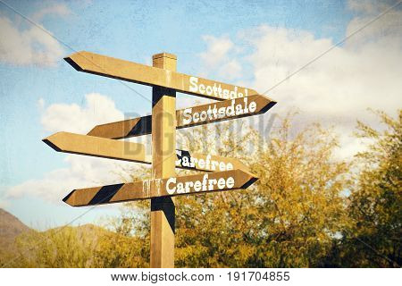 Directional Sign In Cave Creek, Arizona With Vintage Effects