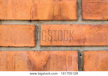 Brick red wall. Construction hand-made of bricks. Background of masonry construction.