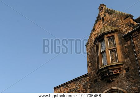 Stepped Gable in Edinburgh Scotland against a Blue Sky