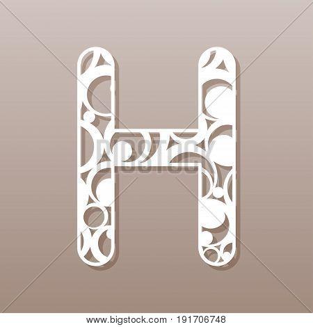 Letter H for laser cutting. English alphabet. Vector illustration.
