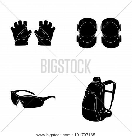 Gloves, elbow pads, goggles, cyclist backpack.Cyclist outfit set collection icons in black style vector symbol stock illustration .