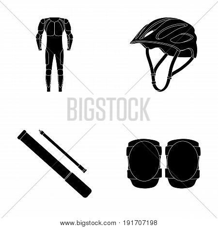 Full-body suit for the rider, helmet, pump with a hose, knee protectors.Cyclist outfit set collection icons in black style vector symbol stock illustration .
