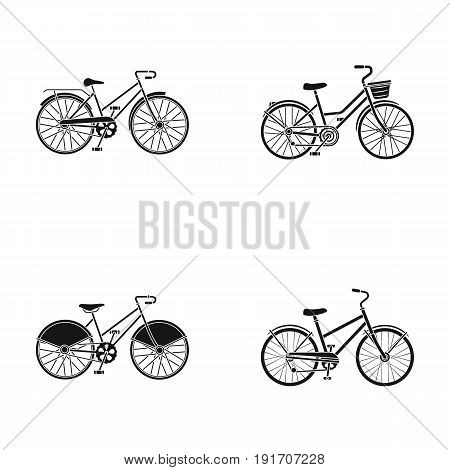 Sports bike and other types.Different bicycles set collection icons in black style vector symbol stock illustration .