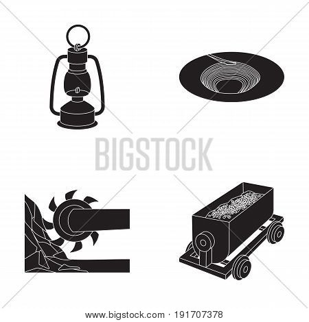 A miner's lamp, a funnel, a mining combine, a trolley with ore.Mining industry set collection icons in black style vector symbol stock illustration .