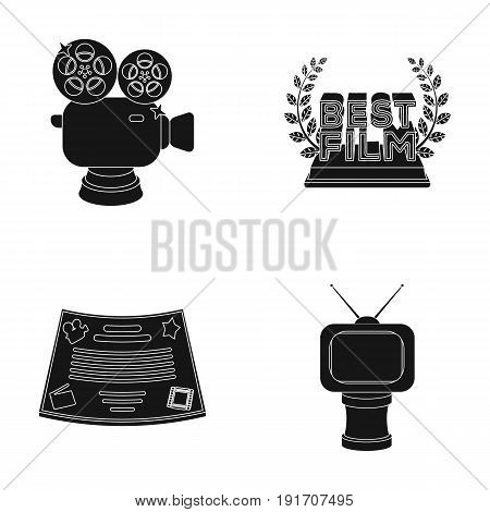 Silver camera. A bronze prize in the form of a TV and other types of prizes.Movie awards set collection icons in black style vector symbol stock illustration .