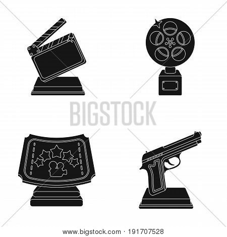 Gold pistol, silver prize for the best supporting role and other prizes.Movie awards set collection icons in black style vector symbol stock illustration .
