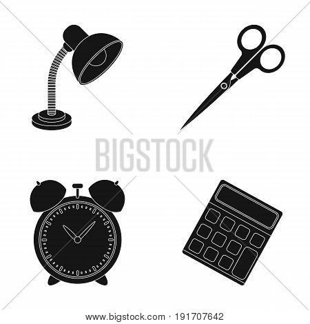 Table lamp, scissors, alarm clock, calculator. School and education set collection icons in black style vector symbol stock illustration .