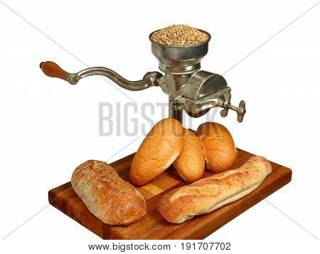 Vintage Hand Cranked Grain Mill with Bread